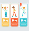 boys in different situations boys banners for vector image