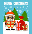 merry christmas cardsanta claus with gifts vector image