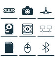 set of 9 computer hardware icons includes control vector image