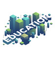 three dimensional word education with abstract vector image