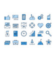 01 blue business icons set vector image