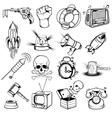 Comics Monochrome Elements Set vector image