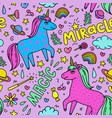 seamless magic pattern with handdrawn unicorns and vector image
