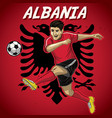 albania soccer player with flag background vector image