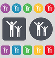 happy family icon sign A set of 12 colored buttons vector image