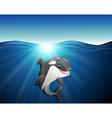 killer whale cartoon on the sea vector image