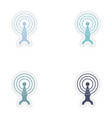 Set paper sticker on white background Wi fi tower vector image