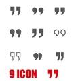 grey quote icon set vector image