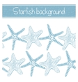background with hand-drawn starfishes vector image