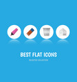 flat icon stationery set of trashcan marker vector image