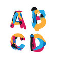 hand drawn with ink brush strokes letters a b c vector image