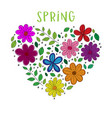 hello spring floral heart isolated on white vector image