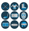 Hockey flat icons set vector image