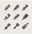 Pens and brushes for drawing vector image