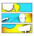 Pop art funny banners with comic background vector image