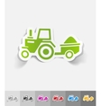 realistic design element tractor with trailer vector image