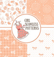 Set of hand-drawn girl patterns vector image