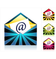 Set envelopes with rays and symbol email vector image vector image