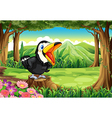 A big black bird above the stump at the forest vector image vector image