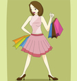 lady with shopping bag vector image