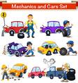 Mechanics and cars set vector image