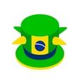 Brazilian green hat icon isometric 3d style vector image