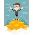 businessman proudly standing on the huge money vector image