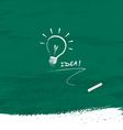 Drawing bulb light idea on blackboard background vector image