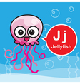 J Jellyfish color cartoon and alphabet for vector image