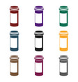 prescription bottle icon in black style isolated vector image