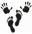 Black footprint and hand print vector image