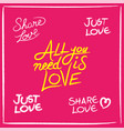 love concept handwritten lettering quotes set vector image