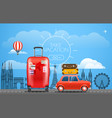 vacation travelling concept car with baggage take vector image vector image