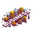 Three dimensional word business with abstract vector image