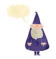 cartoon wizard with speech bubble vector image