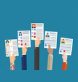 hands holding cv resume documents vector image