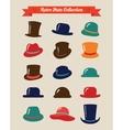 Hipster Retro Hats Vintage Icon Set vector image