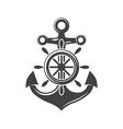 Ship steering wheel and anchor Black icon logo vector image