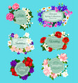 spring flowers bouquets wedding invitations vector image