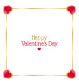 valentines day frame with hearts on white vector image