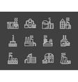 Set of industry plants white line icons vector image