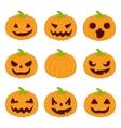 Halloween pumpkins set icons vector image