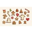 Christmas set of cute gingerbread cookies vector image vector image