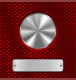 metal round button and scratched rectangle plate vector image