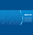 blue water drops background with many drops vector image