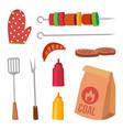 bbq accessories set sauce mustard fork vector image