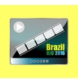 Brazil Rio 2016 words with a play sign on vector image