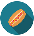 Flat design hotdog icon with long shadow isolated vector image