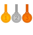 Gold silver and bronze medals for the winners vector image