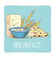 healthy breakfast concept - hand drawn porrige vector image